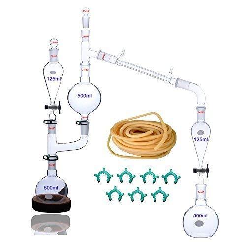25 Stück 500 ml Labware ätherisches Öl Extraktion Destillation Apparat Wasser Hydrosol Destiller Reiniger Glaswaren Kit mit 24/40 Gelenk -