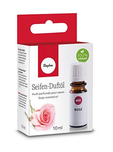 Rose Duftöl (Rayher 34252000 Hobby Seifen Duftöl (100% vegan, in Glasflasche mit Kindersicherheitsverschluss, hautpflegende und wohltuende Wirkung) Rose, 10 ml)