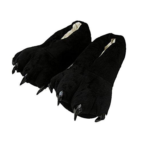 Vogstyle Plüsch-Hausschuhe Pyjamas Tier Onesie Body Nachtwäsche Kleid Overall Animal Sleepwear Erwachsene Art 3 Schwarz