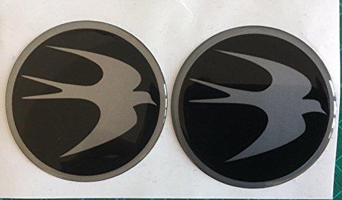 SCOOBY Designs Swift Centre de roue Cap pour caravane circulaire Bird Logo badge 60 mm Noir et argent X2