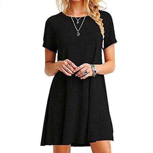 FEITONG Mujer Suelto Casual Cuello redondo Mangas cortas Volantes Mini vestido (Azul, XL) (Negro, M)