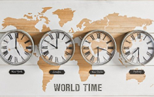 New clock le meilleur prix dans amazon savemoney amazing world map time zones clock wall art gumiabroncs Image collections