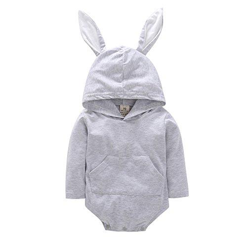 Kleider Kinderbekleidung Honestyi Kleinkind Säuglings Baby Mädchen Jungen Karikatur Kaninchen Ohr mit Kapuze Spielanzug Overall Ausstattungen (Grau,70)