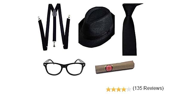 Farfallino Sigaro thematys Cappello Gangster Mafia al Capone Perfetto per Carnevale 4 Set Costumi Anni 20 per Donne e Uomini Cravatta Bretelle