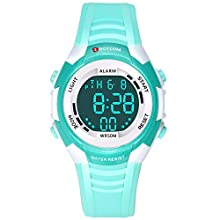 Children's Digital Watch,Sporty Watch for Girls Boys, Swimming Available Time Date Displayed, Seven Colors Backlight, Hourly Chime, Stopwatch, Alarm Functions Kids Wrist Watch