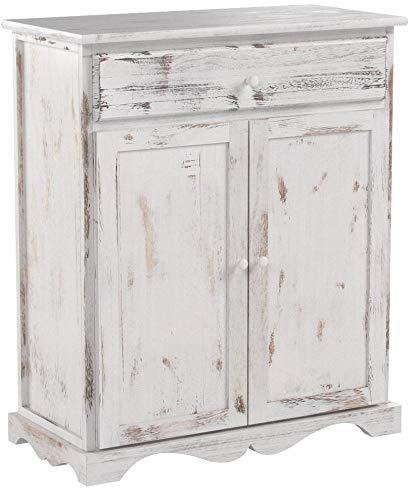 Mendler Kommode Schrank, 78x66x33cm, Shabby-Look, Vintage ~ weiß