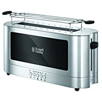 Russell Hobbs 23380-56 Elegance Cam Ekmek Kızartma Makinesi, 2200 W, 2 dilim, Paslanmaz Çelik, Gümüş