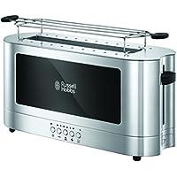 Russell Hobbs 23380-56 Langschlitz-Toaster Elegance, Schnell-Toast-Technologie, Brötchenaufsatz, 1420 Watt, Edelstahl/schwarz