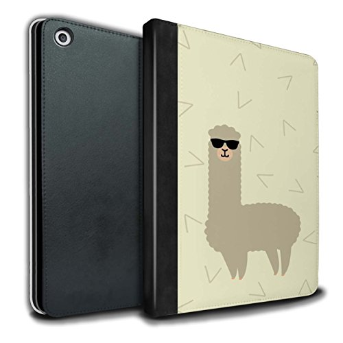Stuff4® PU-Leder Hülle/Case/Brieftasche für Apple iPad 9.7 (2017) Tablet/Coole Sonnenbrille Muster/Karikatur Alpaka Kollektion