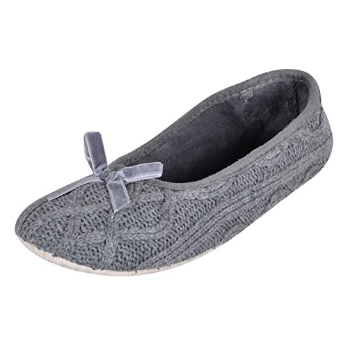 Ladies Grey Cable Knitted Ballet Ballerina Slippers Fabric Non-Slip Sole UK 5-6