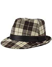 3328a3f4ee9 WITHMOONS Sombrero Fedora Porkpie Banded Winter Fedora Hat Checkered Plaid  Pattern DW61123
