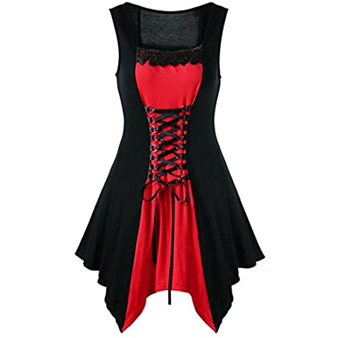 Femmes Mode Robe, Reaso Sans manches Bandage Décontractée Mince Court Mini Robe pour Halloween (Asie M, Rouge)