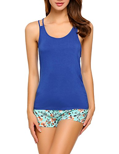 Untlet Damen Nachtwäsche Modal Nachthemd Kurz Zweiteiliger Negligee Frauen Schlafanzug Pyjama sommer, Blau 191, EU 38(Herstellergröße:M) (Sommer-pyjama Blaue)
