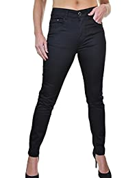 ICE (1501-1) Jeans Moulant Extensible Type Chino Noir Brillant Grande Taille