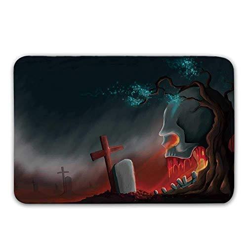 Rutschfeste Fußmatten des Halloween-Gummi-Schutzträgers, Friedhofs-Friedhofs-Baum mit schlechter Schädel-Grabstein-kreuzförmigen gruseligen fantastischen dekorativen Fußmatten-Fußmatten-Wolldecken-Bad