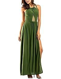 Vestito Lungo Donna Estivo Elegante Abito con Spacco Laterale Maxi Skater  Dress Linea Ad A Abiti di Pizzo Senza Schienale Sottile Vestiti da… f817b1c3680