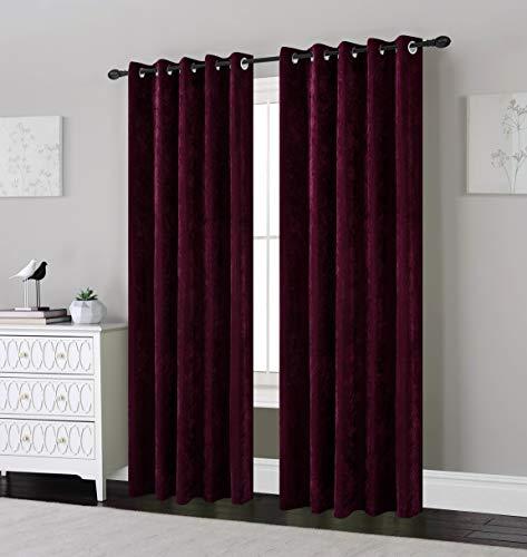 SLEEPDOWN Chenille-Vorhang, gefüttert, mit Ösen, 100% Polyester, Pflaume, 66 x 72 -