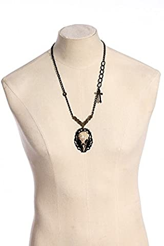 RQ BL Gothic Steampunk Long Necklace with Bird SPM012Headpiece Skeleton Necklace