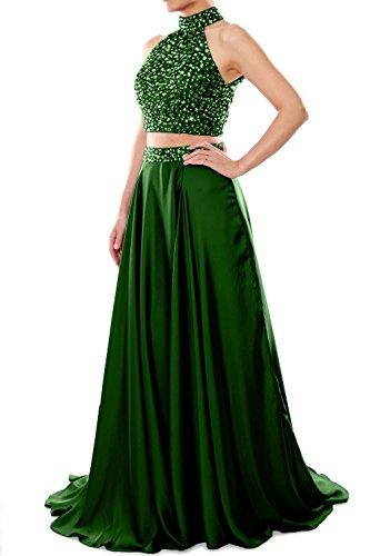 MACloth Women Two Piece Prom Dress High Neck Chiffon Long Formal Evening Gown Dunkelgrun