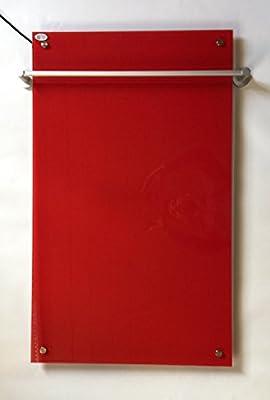 Glas Fern Infrarotheizung mit Thermostat rot 450 Watt 100x60cm inkl.Wandmontage 98% Hitzeeffizienz 100.000Std Lebensdauer von Vinie auf Heizstrahler Onlineshop