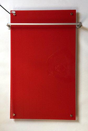 Télécommande Chauffage infrarouge en verre avec porte-serviettes Rouge 450 W 100 x 60 cm avec montage mural 98% la chaleur Efficacité 100.000std Durée de vie garantie 5 ans