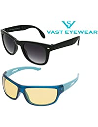 Vast Night Vision Combo Of Sports Unisex Sunglasses - (Combo_Foldable_Nt_Byk|Grey, Yellow)