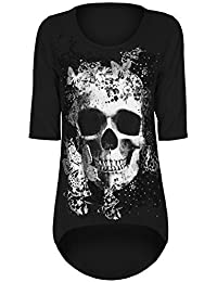 Ladies Casual Dip Dipped Hem High Low Skull Butterfly Print Womens Oversized Baggy Party Tunic Top Tee T Shirt