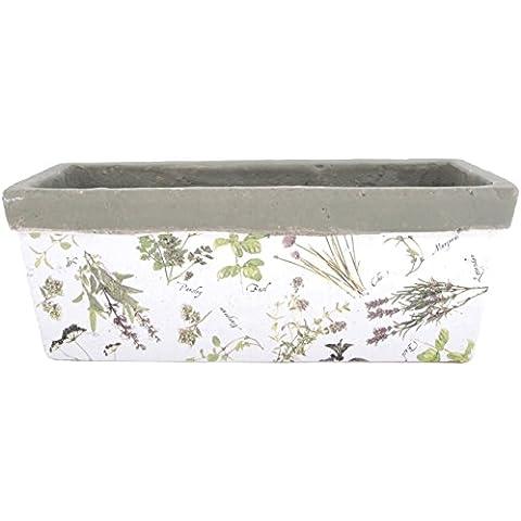 Esschert Design - Vaso da fiori, a forma di parallelepipedo, motivo fantasia di erbe aromatiche, bordo effetto martellato, da circa 39 cm x 15 m x 15 cm, in ceramica pregiata, colore: Bianco/Colori vari