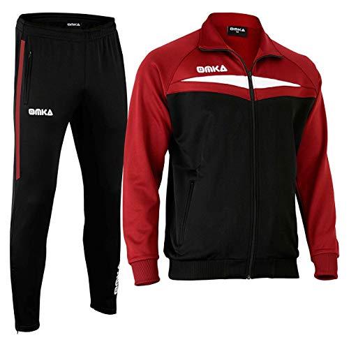 OMKA Trainingsanzug Sportanzug Jogginganzug Freizeitanzug in der 5X Farben, Größe:L, Farbe:Weinrot