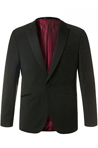 JP 1880 Herren große Größen bis 64 | Smoking-Sakko | Blazer aus Woll-Stretch | Anzug Jacke in schwarz | Seitenstreifen, rotes Futter | schwarz 62 709434 10-62 (Stretch-blazer Nadelstreifen)