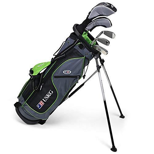U.S. Kids Golf, Ultra-leichtes Golf-Set mit 5-Club-Ständer und Tasche, 137,2cm Höhe, Kinder, 24560, Grau/Grün, 57