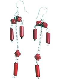 Rote Koralle geschnitten Ohrringe mit 925 Silber Stift
