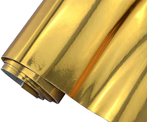 6€/m² Auto Folie - Chrom gold 30 x 150 cm - selbstklebend BLASENFREI flexibel Car Wrapping Klebefolie folieren