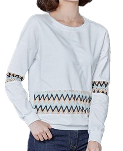 BESTHOO Donna Moda T-Shirt Stampa Manica Lunga Allentata Casuale Camicetta Maglietta Maglie Camicia Eleganti Comode White