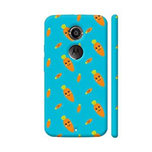 Colorpur Moto X2 Cover - Fresh Smiling Carrots On Blue Case