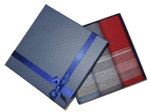 Taschentücher Set für Damen / Herren Geschenk Box - Stofftaschentücher Edel und elegant (Herren 3er Set (CH-196)) (Taschentuch-geschenk-box)