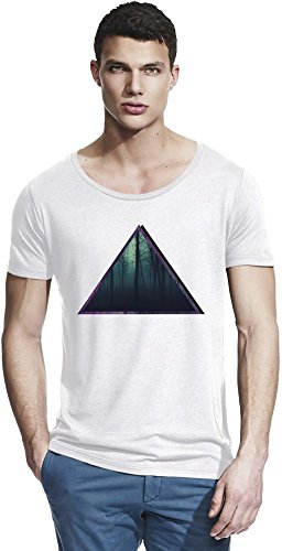 Deep Forrest Hipster Triangles Bamboo Wide Neck T-shirt X-Large