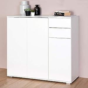 Deuba Kommode Highboard Alba mit 2 Schubladen & 3 Türen 107 x 101 x 35 cm Sideboard Anrichte Beistellschrank Holz, Weiß