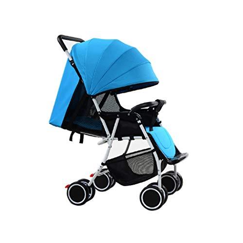 HUNYUAN-LF Leichte Spaziergänger, Folding Stroller Seconds to Öffnen for die einfachen Transport, können Kinderwagen sitzen und Falten mit Einer Hand, erhöhen den Schlaf Korb (Color : Blue)