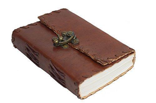 Indian Classic - klein und griffig - Büffelleder Journal Lederbuch B7 Baumwoll Papier Handarbeit...