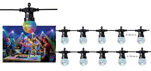 Disco-Kugel LED Party-Lichterkette | 10 Mini Discokugel mit je 6 LED | Bunt - RGB | IP44 für den Innen- und geschützten Außenbereich | Party Deko-Lichterkette