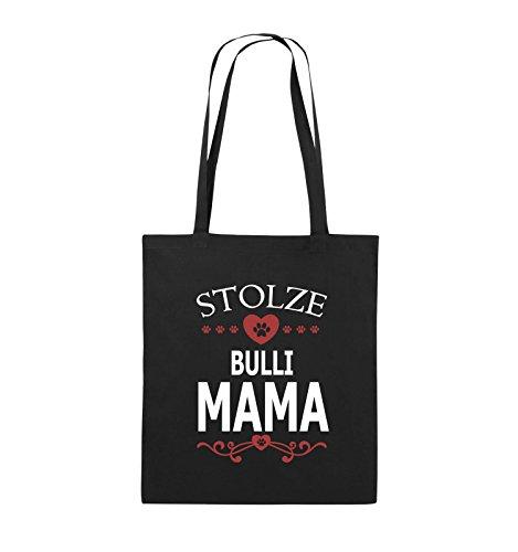 Comedy Bags - Stolze Bulli Mama - HERZ - Jutebeutel - lange Henkel - 38x42cm - Farbe: Schwarz / Weiss-Neongrün Schwarz / Weiss-Rot