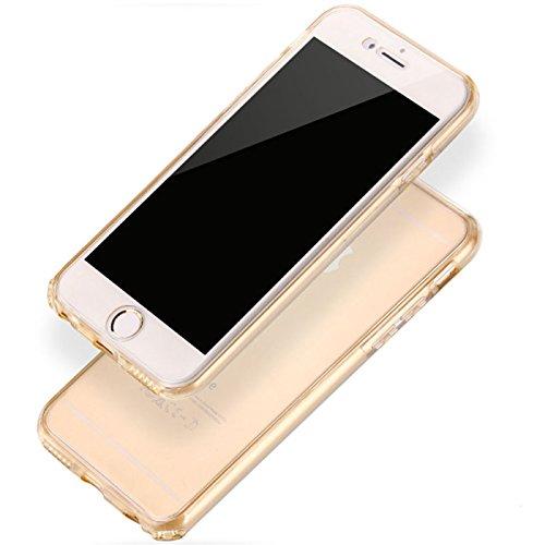 Full Body Weich Ultra Dünn Flexibel und stoßfest 360° transparent Slim Gel Case Cover Skin für Apple iPhone 6/6S (11,9cm) Goldfarben