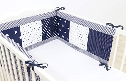 ULLENBOOM ® Nestchen Blaue Sterne (Baby Bettnestchen, Bettumrandung für 120×60 cm / 140×170 cm Babybetten)