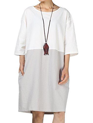Mallimoda Damen 3/4 Arm Stitching Tunika Beiläufiges Oversize Oberteil Kleid T-Shirt Weiß M (Passt Kleid Damen)