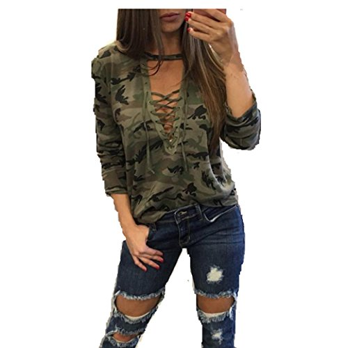 bekleidung longra damen mode frauen langarm shirt schlanken l ssige bluse camouflage print. Black Bedroom Furniture Sets. Home Design Ideas