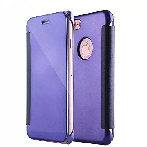 Coque iphone 7 Plus Luxe Mirror clear flip Cover view Bumper étui Housse Coque pour Apple iphone 7 Plus (5.5) pourpre pourpre