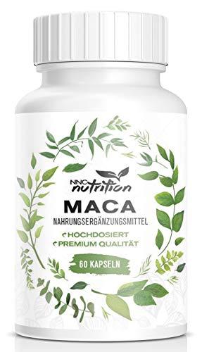 Maca Kapseln hochdosiert | 1000 mg reines Maca pro Tagesdosis mit wichtigen Vitalstoffen | Aus der Maca Wurzel Hergestellt | Für Frauen und Männer geeignet | NNC Nutrition