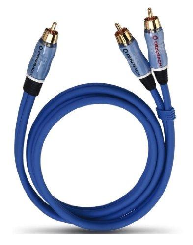 Oehlbach BOOOM! Subwoofer Y-Cinch-Kabel (2 x Cinch auf 1 x Cinch) blau 2.00 m