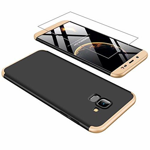 AILZH Hülle für Samsung J6 2018 Hülle 360 Grad Schutzhülle PC Hartschale Anti-Schock HandyHülle Anti-Kratz Stoßfänger 360°Cover Case Matte Schutzkasten+Gehärteter Glasfilm(Gold und Schwarz)